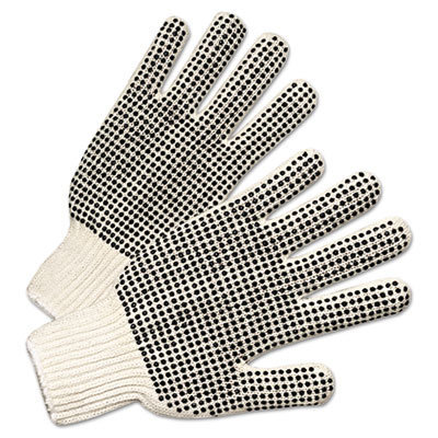 View larger image of PVC-Dotted String Knit Gloves, Natural White/Black, Large, 12 Pairs