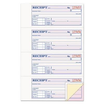 View larger image of Receipt Book, 7 5/8 x 11, Three-Part Carbonless, 100 Forms