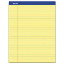 Recycled Writing Pads, Wide/Legal Rule, 8.5 x 11.75, Canary, 50 Sheets, Dozen