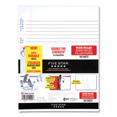 View larger image of Reinforced Filler Paper, 3-Hole, 8 x 10.5, Wide/Legal Rule, 100/Pack