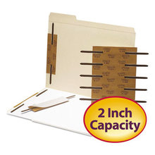"""Reinforced Self-Adhesive Fasteners, 2"""" Capacity, 2.75"""" Center to Center, Brown, 100/Box"""