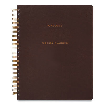 View larger image of Signature Collection Distressed Brown Weekly Monthly Planner, 11 x 8.5, 2021-2022