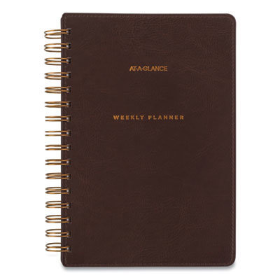 View larger image of Signature Collection Distressed Brown Weekly Monthly Planner, 8.5 x 5.5, 2021-2022