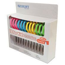 """Soft Handle Kids Scissors, Pointed Tip, 5"""" Long, 1.75"""" Cut Length, Assorted Straight Handles, 12/Pack"""