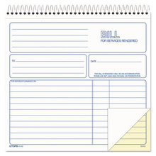 Spiralbound Service Invoices, 8 1/2 x 7-3/4, Two-Part Carbonless, 50 Sets/Book