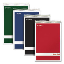 Steno Book, Gregg Rule, Assorted Covers, 6 x 9, 80 Green Tint Sheets, 4/Pack