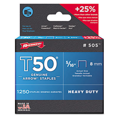 """View larger image of T50 Heavy Duty Staples, 0.31"""" Leg, 0.38"""" Crown, Steel, 1,250/Pack"""