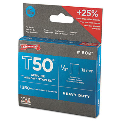 """View larger image of T50 Heavy Duty Staples, 0.5"""" Leg, 0.38"""" Crown, Steel, 1,250/Pack"""
