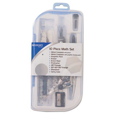 View larger image of Ten Piece Math Tool Kit, Blue and Gray Tools, Hard Plastic Case