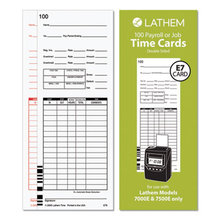 Time Cards for Lathem 7000E and 7500E Time Clocks, Bi-Weekly; Semi-Monthly; Weekly, Two-Sided, 3.38 x 8.78, 100/Pack