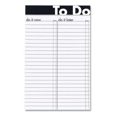 View larger image of To Do Notepads, Wide/Legal Rule, Randomly Assorted Header Band Colors, 50 White Sheets