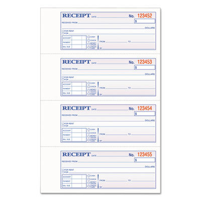 View larger image of TOPS 3-Part Hardbound Receipt Book, 7 x 2 3/4, Carbonless, 200 Sets/Book