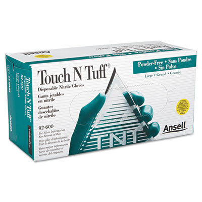 View larger image of Touch N Tuff Nitrile Gloves, Teal, Size 8 1/2 - 9, 100/Box
