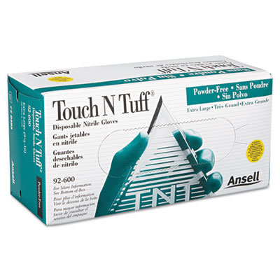 View larger image of Touch N Tuff Nitrile Gloves, Teal, Size 9 1/2 - 10, 100/Box