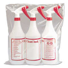 Trigger Spray Bottle, 32 oz, Clear/Red, HDPE, 3/Pack