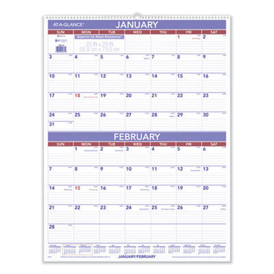 View larger image of Two-Month Wall Calendar, 22 x 29, 2021