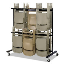 Two-Tier Chair Cart, 64.5w x 33.5d x 70.25h, Black