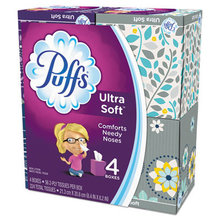Ultra Soft Facial Tissue, 2-Ply, White, 56 Sheets/Box, 4 Boxes/Pack