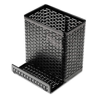 View larger image of Urban Collection Punched Metal Pencil Cup/Cell Phone Stand, 3 1/2 x 3 1/2, Black