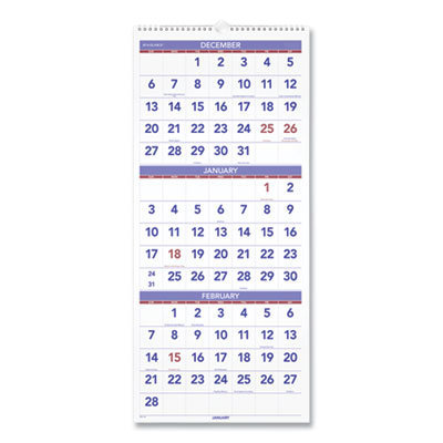 View larger image of Vertical-Format Three-Month Reference Wall Calendar, 12 x 27, 2021
