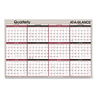 View larger image of Vertical/Horizontal Erasable Quarterly Wall Planner, 24 x 36, 2021