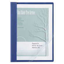 """Vinyl Report Cover, Prong Clip, Letter, 1/2"""" Capacity, Clear Cover/Blue Back"""