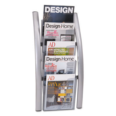 View larger image of Wall Literature Display, 13w x 3.5d x 28.5h, Silver Gray/Transluscent