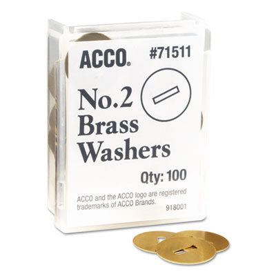 """View larger image of Washers for Two-Prong Fasteners, #2, 1.25"""" Diameter, Brass, 100/Box"""