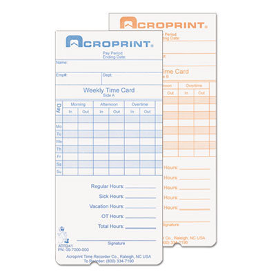 View larger image of Weekly Time Cards for ATR240 and ATR360, 250/Pack