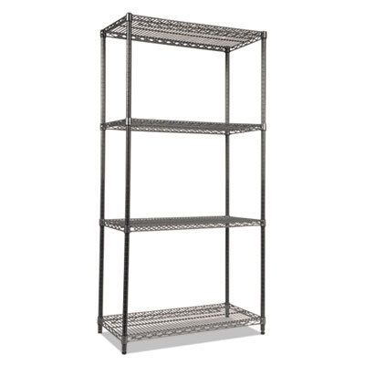 View larger image of Wire Shelving Starter Kit, Four-Shelf, 36w x 18d x 72h, Black Anthracite