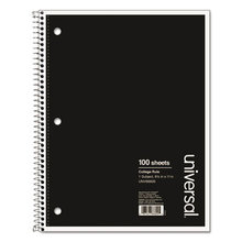 Wirebound Notebook, 1 Subject, Medium/College Rule, Black Cover, 11 x 8.5, 100 Sheets